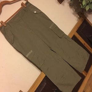 Newport News khaki wide leg jeweled pants 12